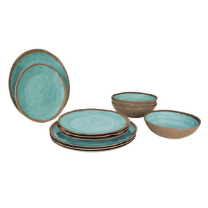Melamine 12-Delig Servies Halo Terracotta Aqua