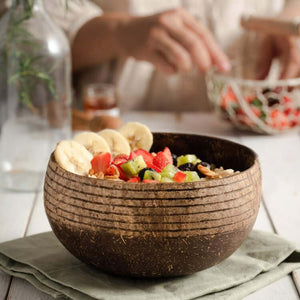 Coconut Bowl With Spoon Cosmos Pattern