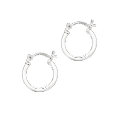 Silver Polished Hoop Earrings, 10mm