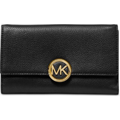 Michael Kors - Lillie Pebble Leather Carryall Wallet,  Black/Gold