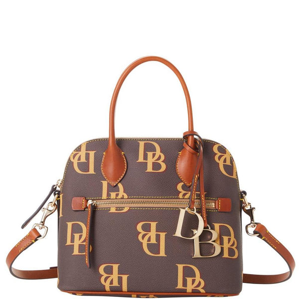 Dooney & Bourke Monogram Domed Satchel, Brown