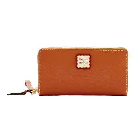 Dooney & Bourke Pebble Grain Large Zip Around Wristlet, Caramel