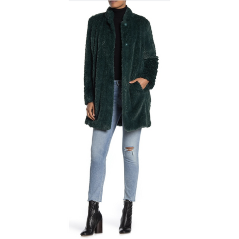 Kenneth Cole Shaggy Faux Green Fur Coat