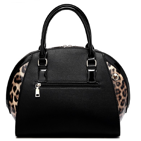 Patent Leopard Trim 2-Way Satchel Wallet SET