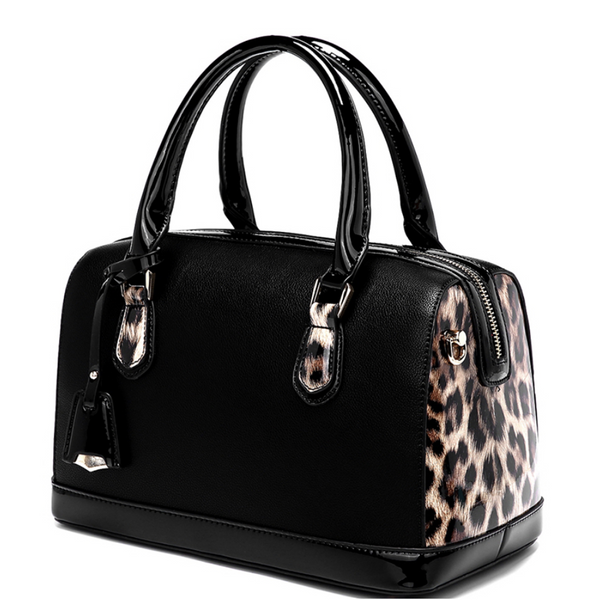 Patent Leopard Trim 2-way Boston Satchel with matching Wallet, Multiple Colors Available