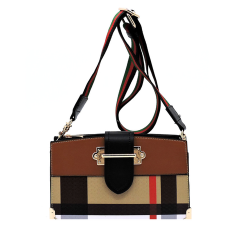 Plaid Crossbody Satchel, Tan