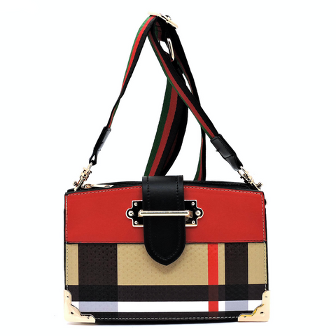 Plaid Crossbody Satchel, Red