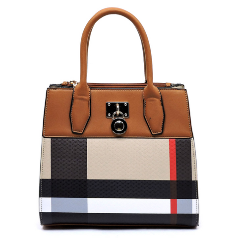 Plaid Padlock Satchel, Tan