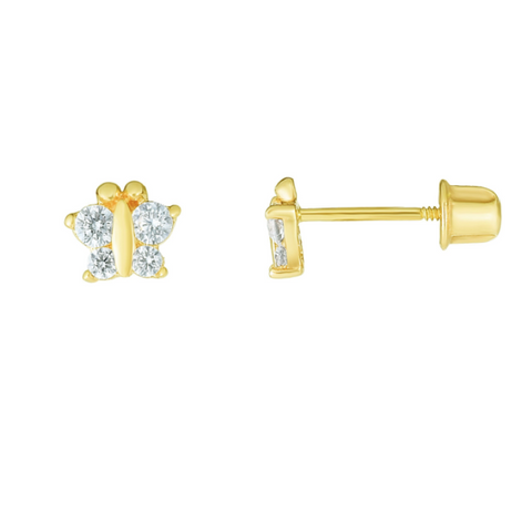 14K CZ Butterfly Earrings