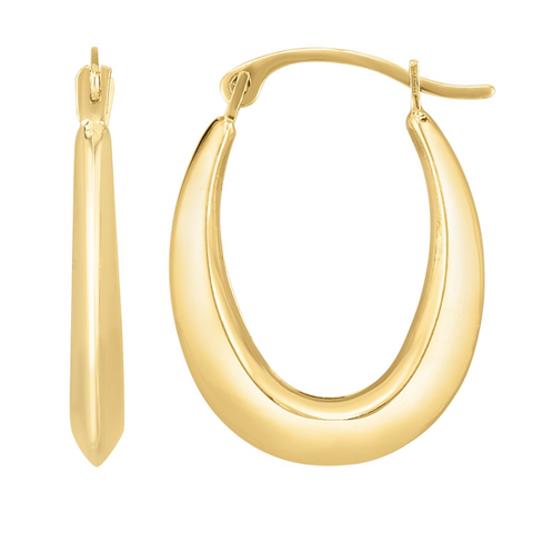 10K Gold Oval Light Weight Hoop