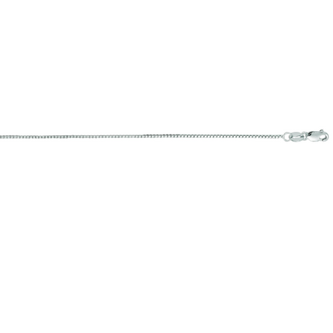 14K White Gold Classic Box Chain, .75mm