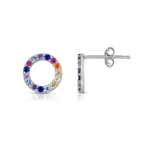 Silver Rainbow CZ Earrings