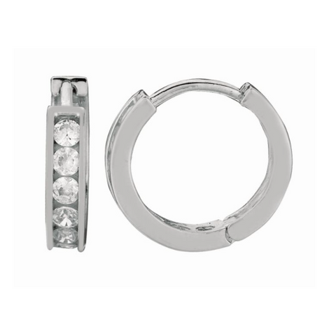 Silver Channel Set CZ Hoop Earrings, 10mm