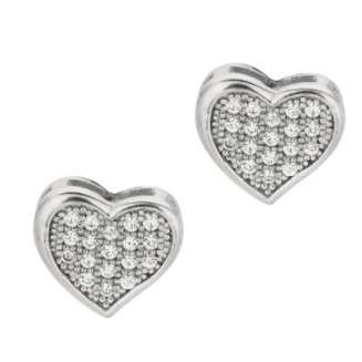 Silver CZ Pave Heart Stud Earrings