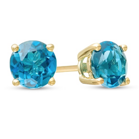 14K Blue Topaz Earrings