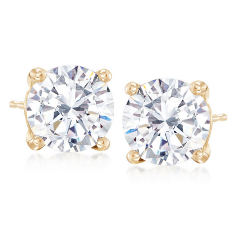 14K Round CZ Earrings, 6mm
