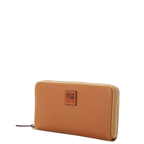 Dooney & Bourke - Pebble Grain Large Zip Around Wristlet, Caramel