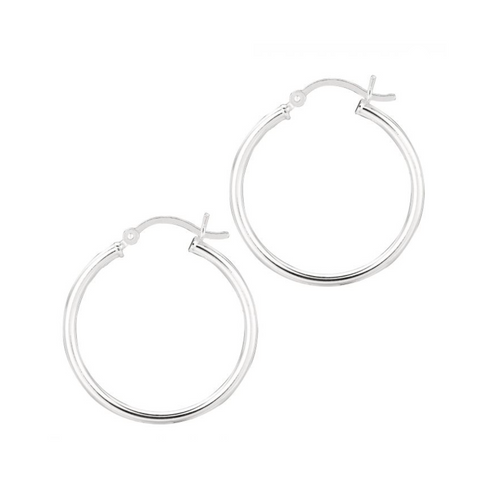 Silver Polished Hoops, 20mm