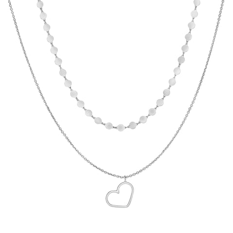Silver Two Chain Choker Necklace