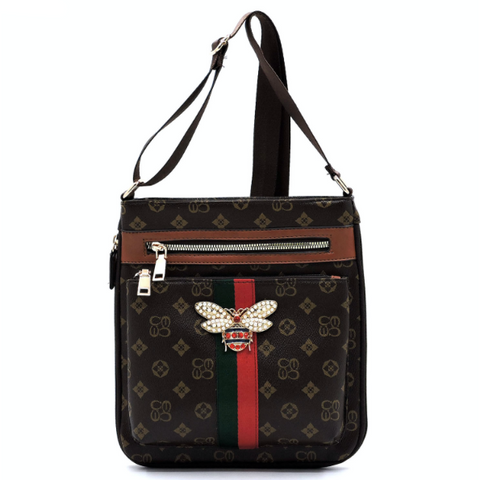 Queen Bee Crossbody, Brown/Tan