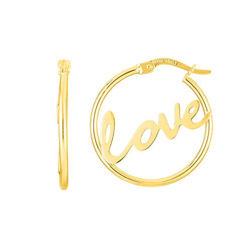 14K Gold Love Hoop