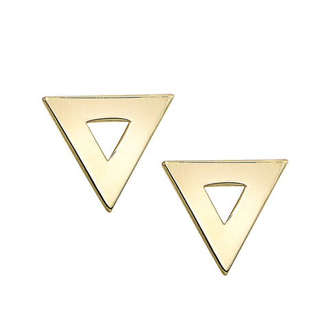 14K Triangle Stud Earring