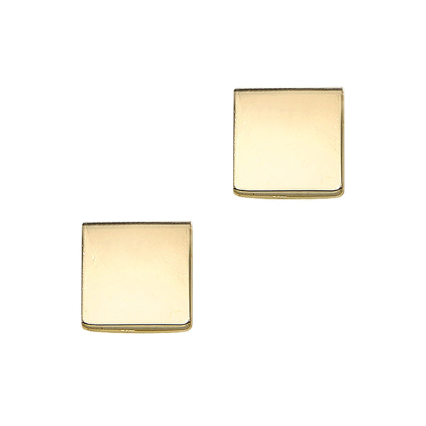 14K Gold Polished Square Stud Earring