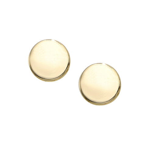 14K Gold Polished Circle Stud Earring