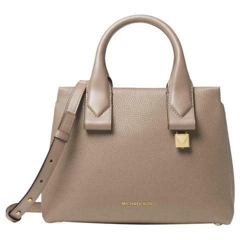 Michael Kors Rollins Small Pebbled Leather Satchel, Truffle