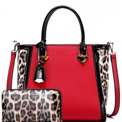 Leopard Trim Tote & Matching Wallet