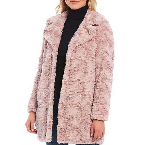 Kenneth Cole - Textured Faux Fur Coat, Lilac