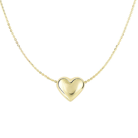 14K Puffed Heart Necklace