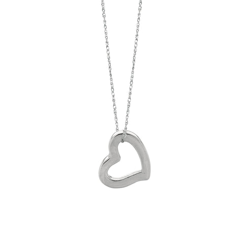 14K Open Heart Necklace, White Gold