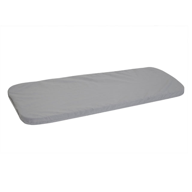 Mountain Buggy side on view of carrycot mattress including attached sheet in light grey_light grey