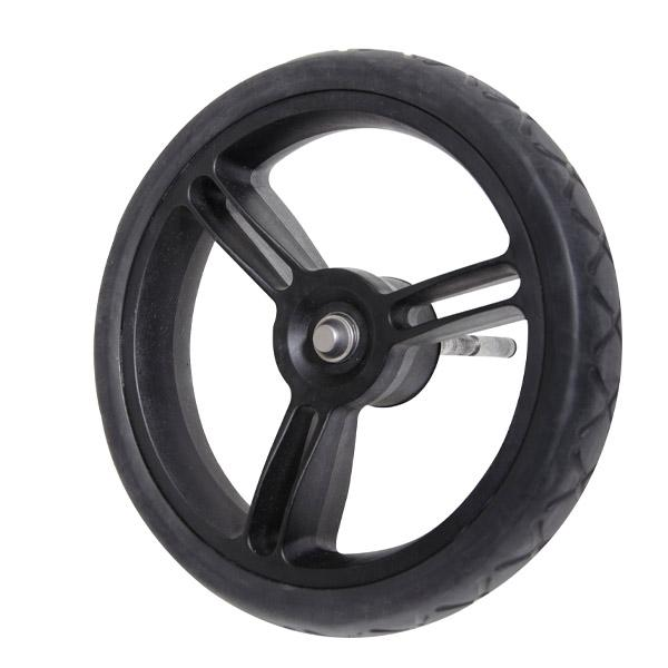 Mountain Buggy aerotech wheel bundle for pre-2017 duet strolllers showing close up of one rear wheel in black_black