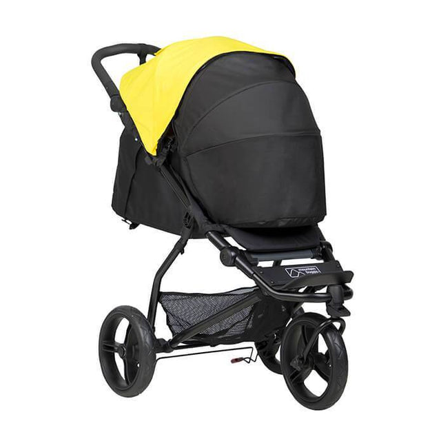 Mountain Buggy mini stroller in cyber yellow colour with newborn cocoon in lie flat mode_cyber