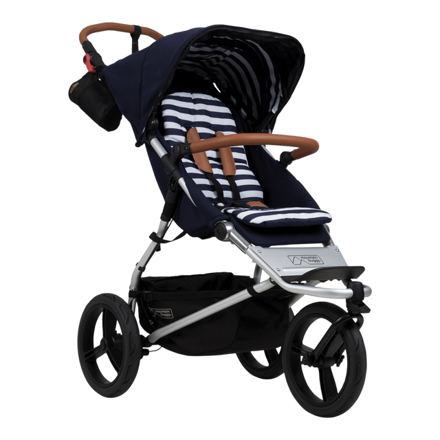 Mountain Buggy urban jungle luxury collection stroller in nautical blue and white stripe colour_nautical