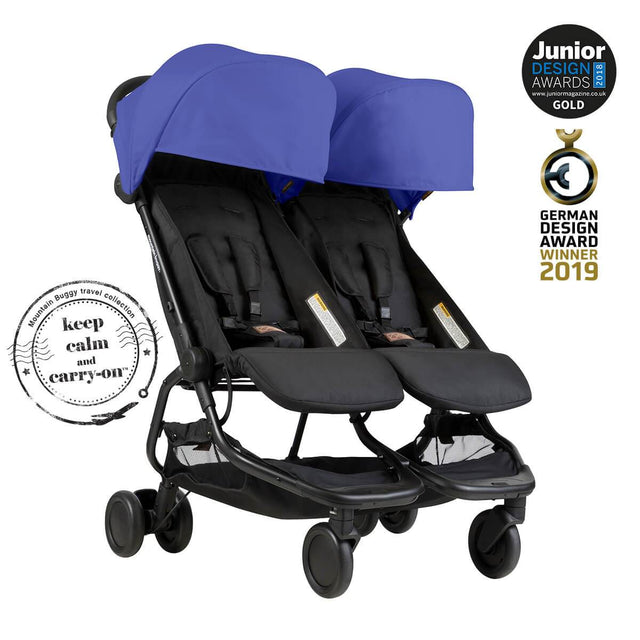 Mountain Buggy nano duo double lightweight buggy is a Junior Design and German Design award winner in colour nautical blue_nautical blue
