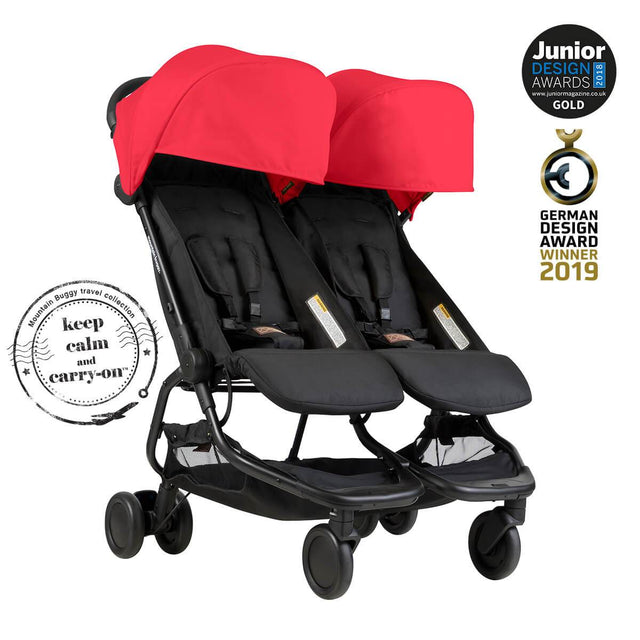 Mountain Buggy nano duo double lightweight buggy is a Junior Design and German Design award winner in colour ruby_ruby