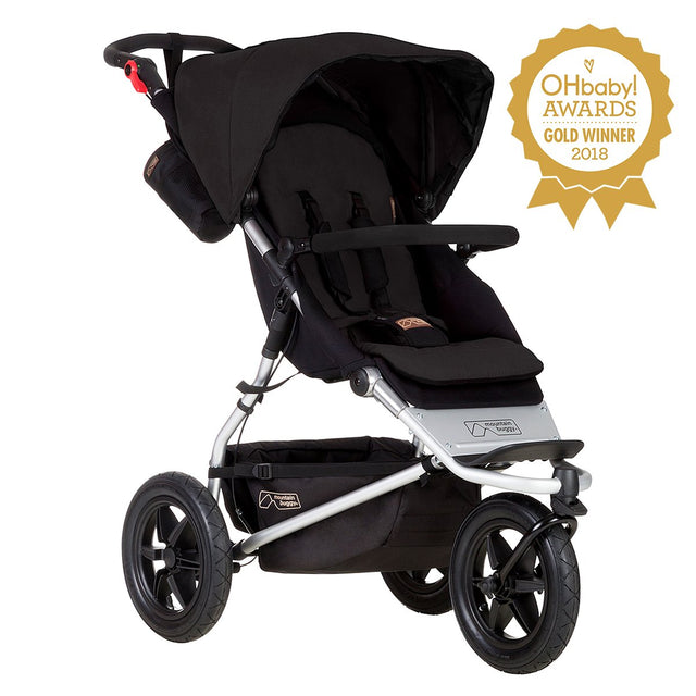 mountain buggy urban jungle all-terrain buggy OHbaby awards logo 3/4 view shown in color black_black