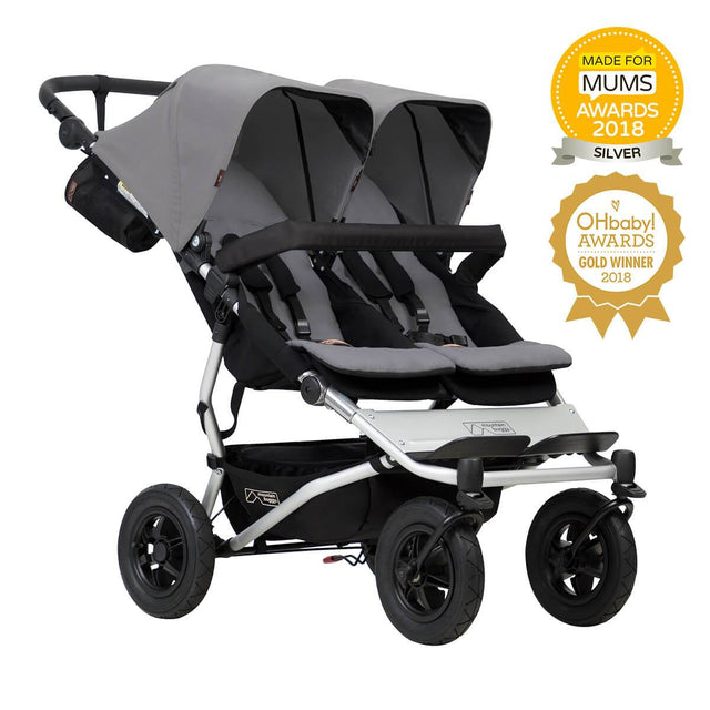 Mountain Buggy duet stroller for twins in silver colour_silver