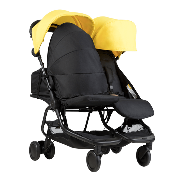 Mountain Buggy nano duo double lightweight buggy fitted with one newborn cocoons in colour cyber_cyber