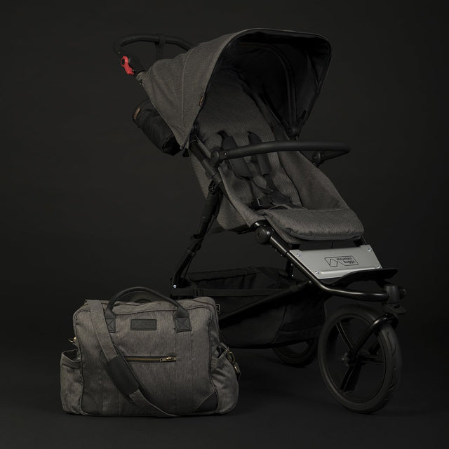 Mountain Buggy urban jungle luxury collection stroller in herringbone grey colour and matching herringbone grey satchel_herringbone