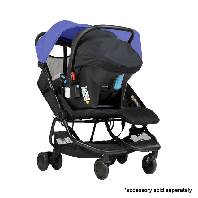 Mountain Buggy nano duo double lightweight buggy fitted with protect car seat in colour nautical blue_nautical blue