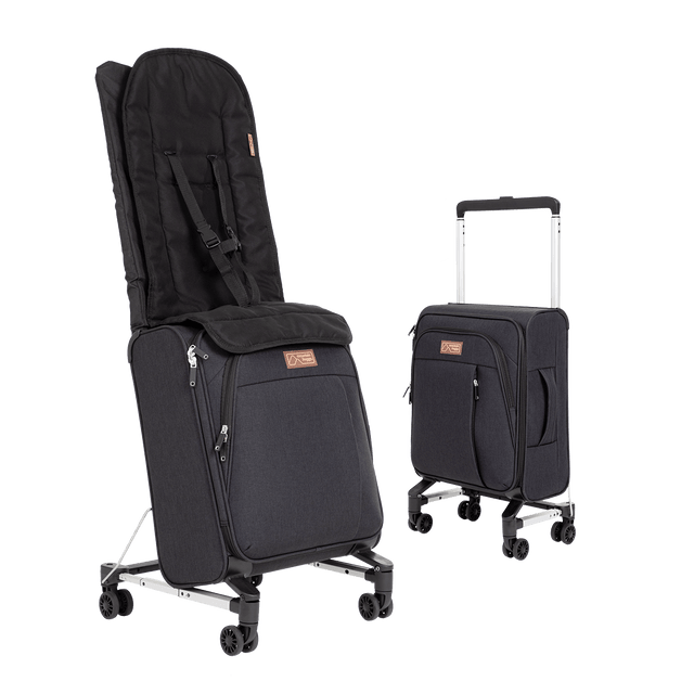 skyrider compact travel suitcase that doubles as a buggy while travelling shown in child mode and cary on luggage mode