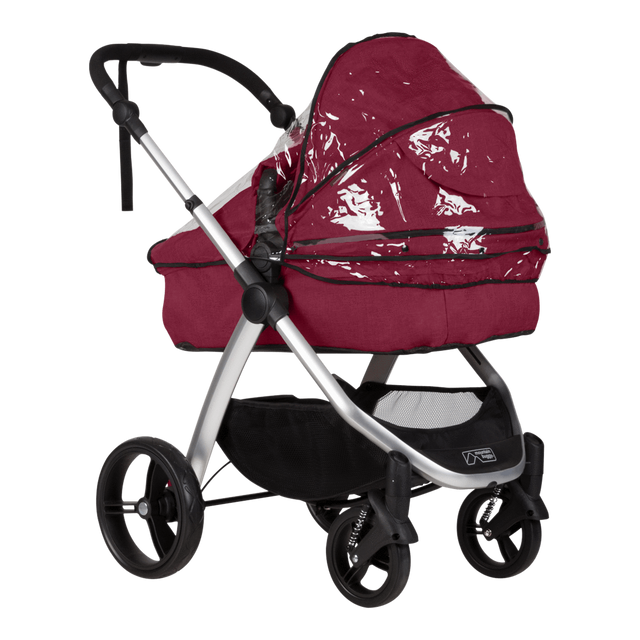 mountain buggy cosmopolitan bassinet storm cover shown on cosmopolitan bassinet in color bordeaux_default