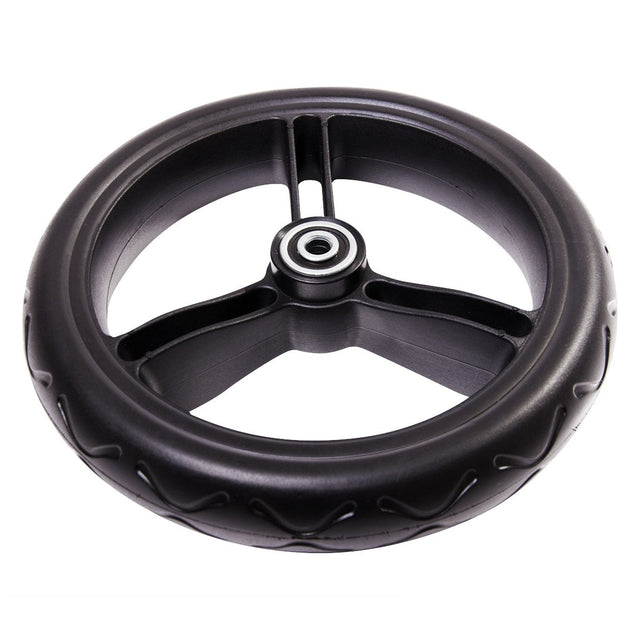 Mountain Buggy aerotech wheel bundle for pre-2017 duet strolllers showing close up of one front wheel in black_black