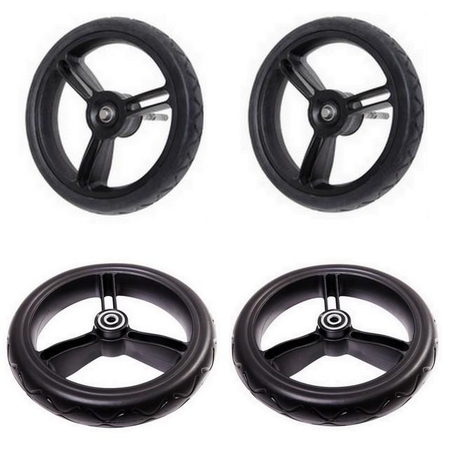 Mountain Buggy aerotech wheel bundle for pre-2017 duet strolllers showing 2 front and 2 rear wheels in black_black