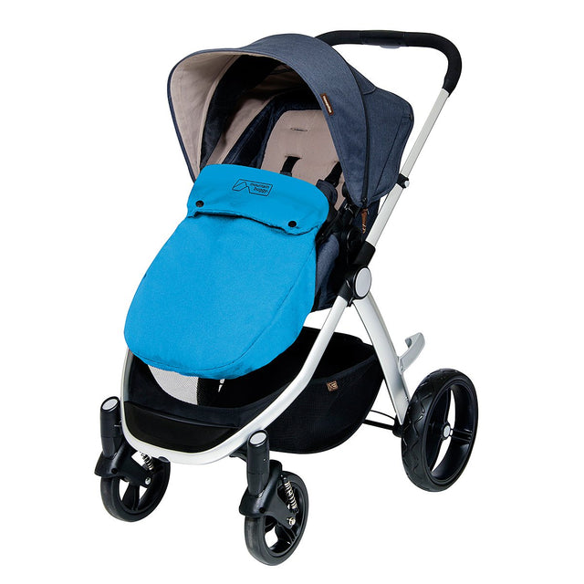 Mountain Buggy cosy toe fitted on cosmopolitan buggy in colour turquoise_turquoise