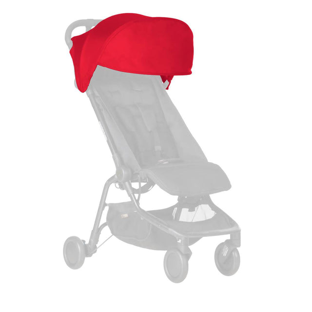 Mountain Buggy replacement sun hood for the nano buggy shown in red ruby_ruby